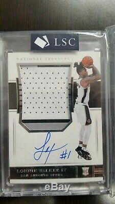 18-19 National Treasures Lonnie Walker IV Rookie PATCH Auto 3 Color RC RPA /99