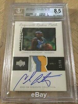 2003-04 UD Exquisite Carmelo Anthony RPA RC 3-Color Patch AUTO #/99 BGS 8.5