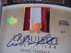 2004-05 Exquisite Andre Iguodala 3 Color RPA RC Auto Logo Patch Gold Foil #4/9
