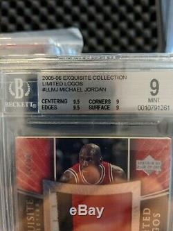 2005-06 Exquisite Michael Jordan Limited Logos 3 Color Patch Auto BGS 9/10