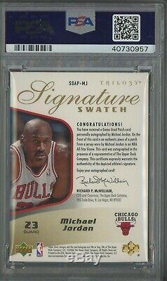 2005-06 UD Trilogy Signature Michael Jordan 3-Color ASG GU Patch AUTO /10 PSA 10