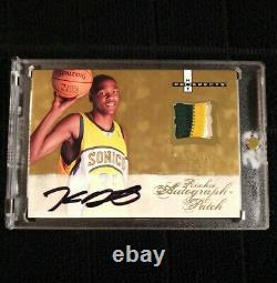 2007-08 Fleer Hot Prospects #123 Kevin Durant RC Rookie AUTO 3 Color Patch /399