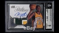 2007-08 UD Exquisite #94 Kevin Durant RPA RC 3-Color Patch AUTO /99 BGS 9 with 10