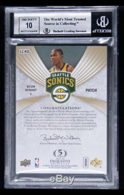 2007-08 UD Exquisite Limited Logos Kevin Durant RC 3-Color Patch AUTO /50 BGS 9