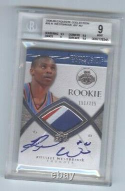 2008-09 RUSSELL WESTBROOK UD Exquisite Patch AUTO Rookie RC /225 3-Color bgs 9