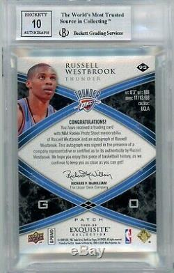 2008-09 UD Exquisite Russell Westbrook RPA RC 3-Color Patch AUTO /225 BGS 9