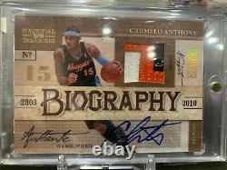 2009-10 National Treasures Carmelo Anthony 3 Color Auto Patch Biography #3/3
