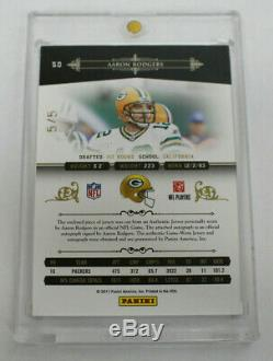 2011 National Treasures Aaron Rodgers Prime 2 Color Patch Auto 5/5