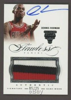 2012-13 Flawless Dennis Rodman Chicago Bulls Game Used 3-Color Patch AUTO 5/25