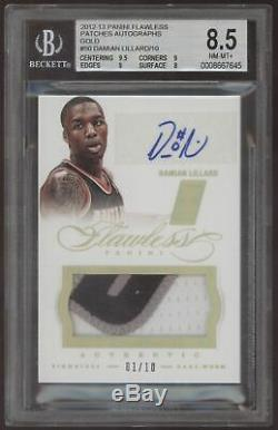 2012-13 Panini Flawless Damian Lillard 3 Color Patch Gold RC Auto /10