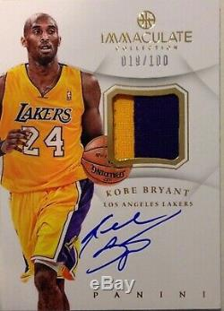 2012-13 Panini Immaculate Kobe Bryant 2 Color Patch Auto 19/100 LA Lakers Hof