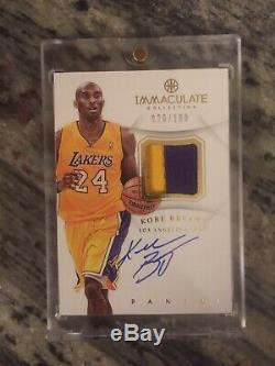 2012-13 Panini Immaculate Kobe Bryant 2 Color Patch Auto 26/100 LA Lakers Hof