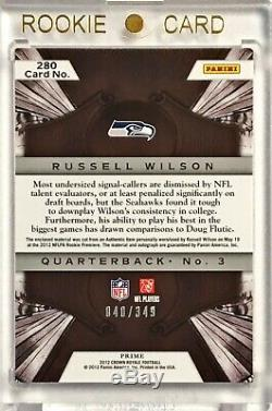 2012 Crown Royale RUSSELL WILSON /349 Silhouettes 3 Color Rookie Patch Auto