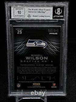 2012 Russell Wilson Panini Black 3 Color Patch #25 Rookie RPA BGS 8/10 Auto-POP6