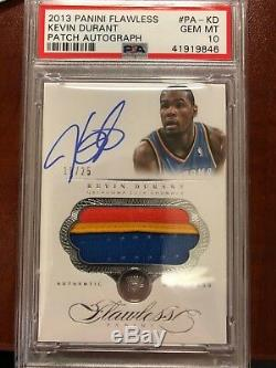 2013-14 Panini Flawless 3 Color Patch Auto Kevin Durant Psa 10