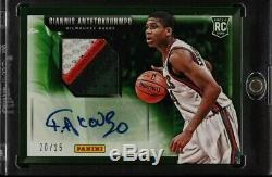 2013 Panini Basketball Giannis Antetokounmpo Rookie RC 3 Color Patch Auto /25