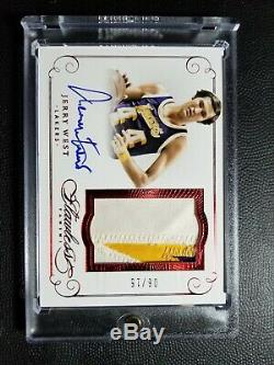 2014-15 Panini Flawless Jerry West Auto Game Worn Patch 3 Color #6/15