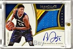 2014-15 Panini Immaculate ANTHONY DAVIS /25 Game Worn 3 Color Premium Patch Auto