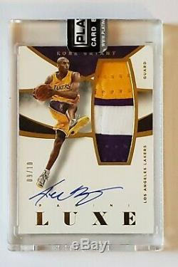 2014-15 Panini Luxe Game-worn 3 Color Patch On Card Auto GOLD 09/10 KOBE BRYANT