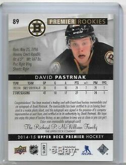 2014/15 Premier Gold Rookie Auto Patch David Pastrnak #89 2/10 3 color