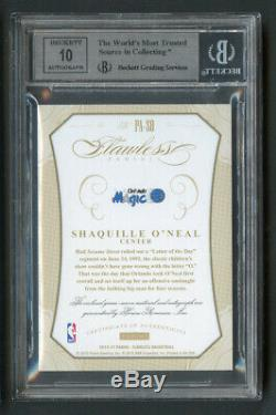 2014 Flawless Shaquille O'Neal 3-Color Patch Auto /15 BGS 9 Mint with10 Auto