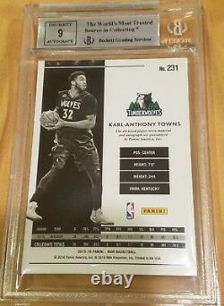 2015-16 Noir Karl Anthony-Towns Jersey Patch Auto BGS 9 MINT RC Colored /99