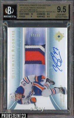 2015-16 Ultimate 05-06 Gold Connor McDavid RPA RC 3-Color Patch AUTO /15 BGS 9.5