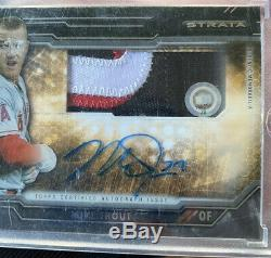 2015 Topps Mike Trout Auto Patch Jumbo 3 Color Sick Swatch! Serial Numbered /50