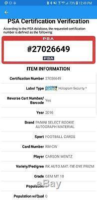 2016Carson Wentz Rookie Panini Select Tie-Dye 4-color Patch AUTO PSA GEM POP 1