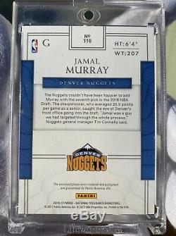 2016-17 National Treasures JAMAL MURRAY #/99 RC 4-Color Patch Auto RPA Hot Card