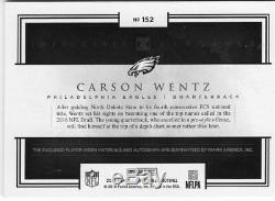 2016 Impeccable Elegance Carson Wentz 35/75 RC on card Auto Eagles 4 color patch