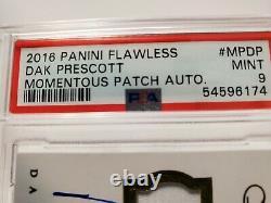 2016 Panini Flawless Dak Prescott RC Auto 2 Color Patch RPA SP 16/25 PSA Mint 9