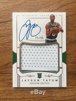 2017 17 18 National Treasures Jayson Tatum Rookie RC Auto 2 Color Patch /99