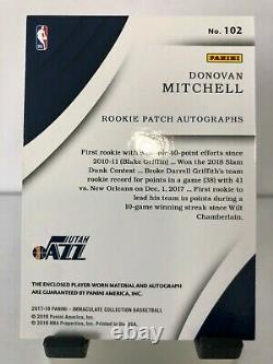 2017-18 Immaculate Donovan Mitchell Rookie 2-Color Patch Auto RPA RC 4/25