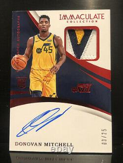 2017-18 Immaculate Donovan Mitchell Rookie Tri-Color Patch Auto RPA RC 3/25