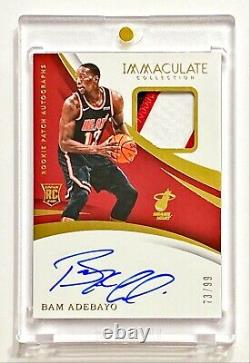 2017-18 Panini Immaculate BAM ADEBAYO #73/99 True RPA 3 Color Rookie Patch Auto