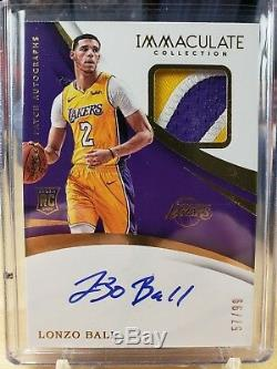 2017-18 Panini Immaculate Lonzo Ball RC 3 Color Stitched Patch Auto 57/99 LAKERS