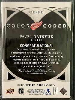 2017-18 Ud The Cup Pavel Datsyuk Color Coded Auto Sp 2/33 Detroit Red Wings