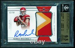 2017 National Treasures Patrick Mahomes 3-COLOR RC ROOKIE PATCH AUTO /99 BGS 9.5
