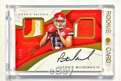 2017 Panini Immaculate PATRICK MAHOMES II #14/49 Rookie 3 Color Patch Auto! MVP