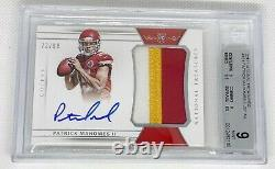 2017 Patrick Mahomes National treasures rpa /99 awesome 3 color patch auto bgs 9