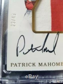 2017 Patrick Mahomes Rookie Auto Immaculate Huge3 color PatchRPA#29/49MVP