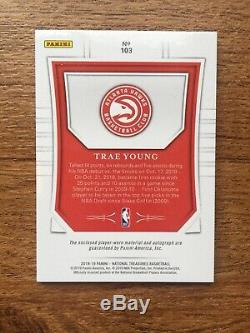 2018 18 19 National Treasures Trae Young Rookie RC Auto 4 Color Logo Patch /99