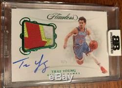 2018-19 Flawless RPA Trae Young #d 3/5 On-Card Auto Tri Color Patch HAWKS