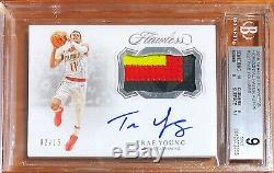 2018-19 Flawless Trae Young Rc Rookie 3 Color Game Used Patch Auto /15 BGS9 with10