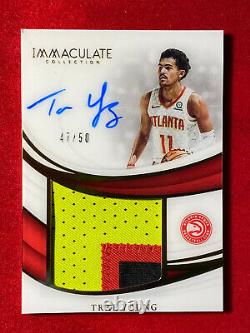 2018-19 Immaculate RC Trae Young AUTO Jumbo 3-Color Patch # /50 Atlanta Hawks