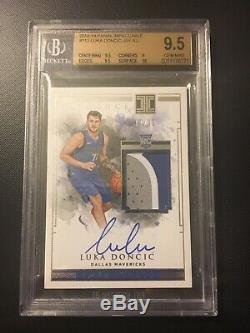 2018-19 Panini Impeccable Luka Doncic RC Patch Auto 3 Color 17/99 BGS 9.5/10