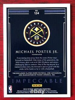 2018 Impeccable Michael Porter Jr. 3 Color ROOKIE RC PATCH AUTO RPA #55/99