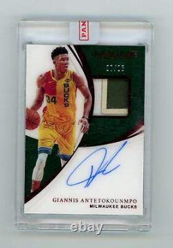 2018 Panini Immaculate Giannis Antetokounmpo Ruby 7/25 Auto 3 Color Letter Patch