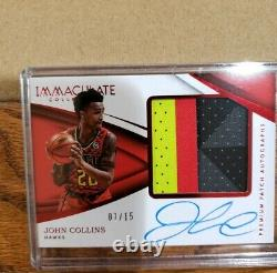 2018 Panini Immaculate John Collins 3-Color Patch Auto Serial # 7/15